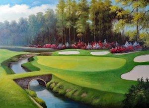 Emoldurado Campo de Golfe Verde Água Areia Risco Flores Árvores, pintados à mão Paisagem arte pintura a óleo de Lona Grossa, multi tamanhos Frete Grátis J018