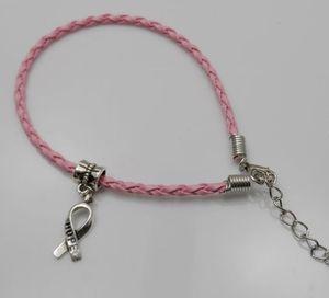 100 pcs / lot Espoir Cancer Du Sein Sensibilisation Ruban Charme Pendentif En Cuir Corde Cham Bracelet Fit pour Bracelet Européen À La Main Artisanat DIY