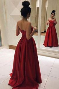 Simples Elegante De Cetim A Linha de Vestido de Baile Sweep Trem Querida Backless Formal Vestido de Festa À Noite Custom Made Plus Size