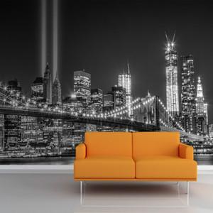 Оптовая продажа-Mural оттенки серого NY торговый центр Огни стены Mural фото обои 3D mural обои известный город здание фон