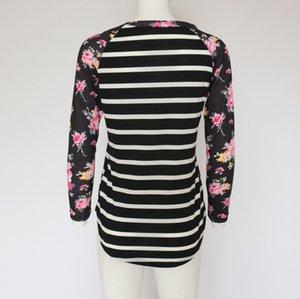 Kadın Çizgili Tişörtleri Sonbahar Yeni Uzun Kollu Çiçek Baskılı O-Boyun Patchwork Tees Bahar Giyim Tops