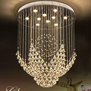K9 Cristal Lámpara LED Lámpara Luz moderna Luces de araña Lámparas Inicio Inicio Iluminación Hotel Hall Lobby Stair Ronda Larga Cristal Drop Light