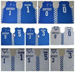 2017 Kentucky Wildcats Koleji Basketbol Formaları De'aaron Fox Malik Monk Edrice Adebayo John Calipari Gömlek Üniversitesi Jersey