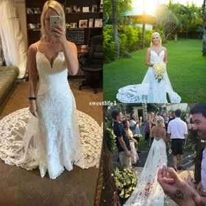 2019 Newest White Lace Wedding Dresses With Lace Chapel Train Spaghetti Straps Mermaid Rustic Garden Bridal Gown Custom Made Hot Sale
