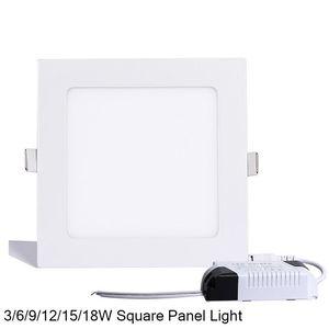 Lampada da pannello a led quadrata dimmerabile SMD 2835 3W 9W 12W 15W 18W 21W 25W 110-240V Lampada da incasso a soffitto a soffitto a incasso SMD2835 + driver
