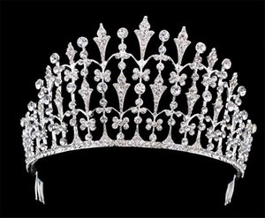 Pageant Crown Princess Tiara Vintage Wedding Bridal Crystal Rhinestone Accesorios para el cabello Tocado Peine Silver Queen Tocado Fascinators