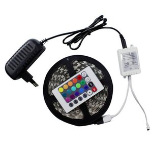 DHL3528 RGB 5M 300 led lighting Led light Strip Waterproof 24 Keys IR Remote Controller+12V 2A Power Supply
