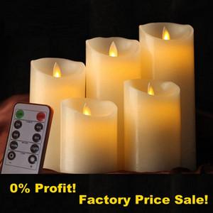 Wick Hareketli Uzaktan Kumandalı Mumlar LED, Dans Alevi Wax Pillar Mum Candele Velas Düğün Noel Dekorasyonu için LED
