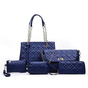 2017 New Fashion 6pcs set femmes sacs à main designer sacs à main vente chaude sacs Diamond Lattice compasite Sac