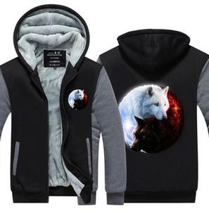 Yeni Kalite Kazak Moda Kalınlaşmak Fermuar Fleece Yin-Yang Kurt Baskılı Kapüşonlular Erkekler 3d Kapüşonlular adam kış Marka Tişörtü Ceketler