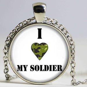 Nouveau I Love My Soldier Collier Militaire Femme Pendentif Cadeaux Pour Son Verre Dôme Photo Colliers