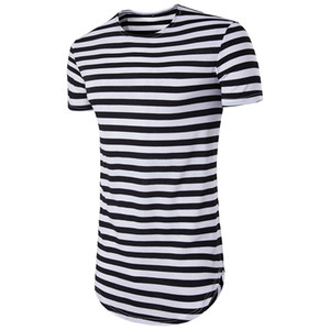 Summer Fashion Street T Shirt Men Hip Hop Short Sleeve T-shirt O-neck Stripe Long Tees Mens Shirts