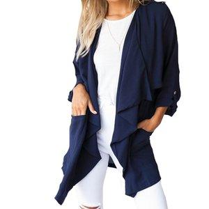 2017 ZANZEA Donne Chiffon manica lunga Cardigan Outwear Cascata Giacche Casual Allentato Camicette Solid Tops US Plus Szie 4-24