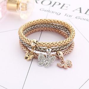Classici a prova di esplosione tre colori vestito donne strass elastici catena a farfalla pendente con diamanti oro argento bracciale in oro rosa