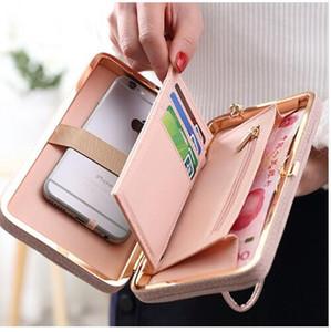 Las mujeres de lujo bolsa de teléfono bolsa de cuero funda para iPhone 7 6 6 s más 5s 5 Samsung Galaxy S7 Edge S6 J5 Xiaomi Mi5 Redmi 3S Nota 3 4