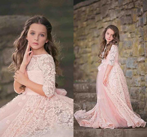 2017 New Cute Bateau Princess Pink Lace Flower Girls' Dresses Half Sleeves Tulle Girls Pageant Gowns Kids Formal Wedding Dresses