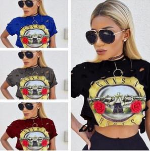 Hot Sale Sexy Loch-Frauen-T-Shirt 2017 New GUNS N ROSES Print Crop Top-T-Shirt Cropped Tops aushöhlen kurze Hülse-T-Shirt Femme QA1223