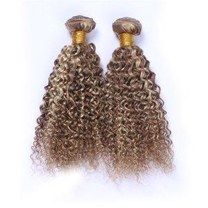 Piano #8 613 Mixed Color Peruvian Virgin Human Hair 3Pcs Kinky Curly Light Brown Highlight Blonde Two Tone Human Hair Weave Bundles