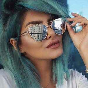 Горячие Продажи Cat eye солнцезащитные очки для женщин Зеркальные Плоские Линзы Женщины Солнцезащитные Очки Cat Eye Классические Двойные Лучи Розовое Золото Рамка Солнцезащитные Очки для Женщин