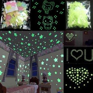 Оптовая дешевые наклейки на стены термоаппликации свечение в темноте детская комната спальня Home Decor Цвет звезды светящиеся флуоресцентные наклейки на стены термоаппликации