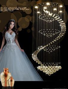 nouveau lustre moderne LED lampes en cristal long lustre suspendu lustres de cristal kronleuchter, AC110-240V lustre escalier LLFA