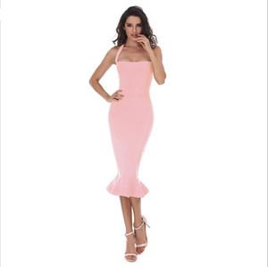 2020 Khaki vino partito delle donne di nuovo di modo Bodycon del vestito dalla fasciatura sexy rosso dalla spalla abiti estivi Halter Fishtail Midi Club Backless