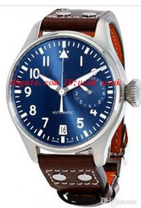 2017 Top qualité Luxe Big Pilot Montre Midnight Blue Dial Montre 46mm Automatic Hommes Hommes de montre.