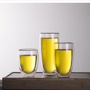 Las tazas de café de cristal al por mayor de la pared doble del estilo de Europa a prueba de calor 250ML / 350ML / 450ML ahuecan la cristalería de la taza de té con alta calidad