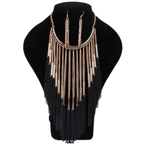 Gold Plated Trendy Boho Crystal For Party Wedding Women Jewelry Sets With Earrings Necklace 2017 Statement Necklace New Arrival
