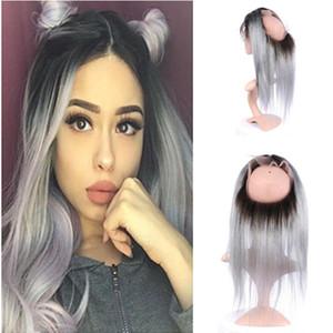 Raíz oscura 1B / Grey Ombre recta mechones de cabello humano de la Virgen con 360 gris plata Ombre 360 del cordón lleno banda frontal 1pc Cierre