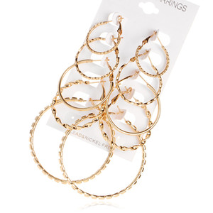 designer metal earrings fashion retro earrings suit combination of 5 sets of jewelry wholesale free shipping