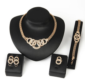 Summer Wedding Accessories African Beads Jewelry Sets Crystal Gold Color Bridal Necklace Bracelet Earrings Rings Set