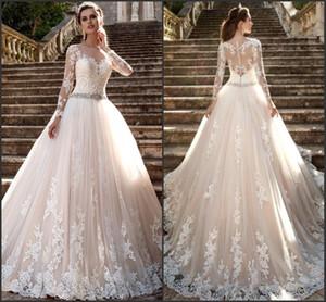 Modest manga larga Milla Nova 2019 vestidos de novia Sheer Jewel Neck Vintage Lace Robe De Mariage con cuentas Crystal Belt vestidos de novia BA4509