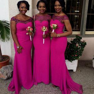 Pizzo Scoop Plus Size abiti da damigella d'onore lunghi africani 2018 Sirena damigella d'onore abiti popolari abiti da cerimonia per matrimoni africani da cerimonia