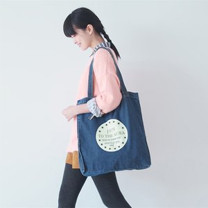 Wholesale- New  Jean Canvas Daily Open Shopping Bag Large Denim Tote Women Handbags Foldable Letters Ladies Single Shoulder Beach Ba