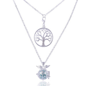 Aromatherapy Essential Oil Diffuser 2 Row Necklace Hollow Ball Angel Wing Tree of Life Lava Stone Locket Pendant