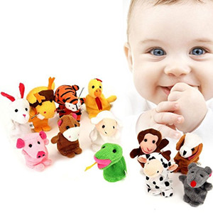 Chinese Zodiac 12pcs lot Animals Cartoon Biological Finger Puppet Plush Toys Dolls Child Baby Favor Finger Doll Free Childrens Day gifts