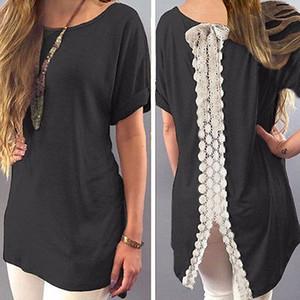 Summer Ladies Womens Casual Chemise Plain Simple Design manches courtes en dentelle Retour T-Shirt lâche Tees Slim Tops Taille Plus