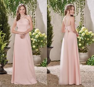 Pembe Bir Çizgi Gelinlik Modelleri 2017 Basit Uzun Kapalı Omuz Nedime Abiye Aç Geri Benzersiz Tasarım Düğün Konuk Elbiseler