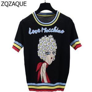Großhandels-neue heiße Promi-gleiche Art-Frauen Art und Weise strickte T-Shirts mit Mädchen-Muster-beiläufigen Buchstaben Kontrast-Farbe-Schwarz-Oberseiten SY1066