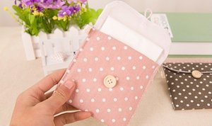 Carryon Charming Lovely Periods Hygiene Sanitary Napkins Bag Nice Wave Point Storage Cotton Color Girls Case Pack Female For Purse Bag Bgao