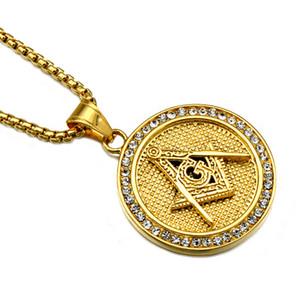 Aço hip hop ouro cor de titânio inoxidável Iced Out Masonic gratuito Mason Maçonaria pingentes colares para homens jóias