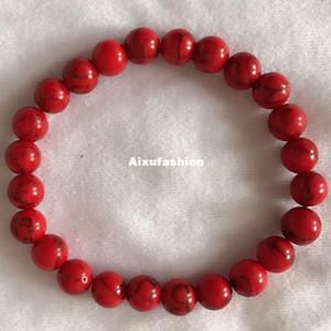 Rote synthetische Türkise-Armband-Schmuck-Naturstein für Schmuck-rote runde Form 6/8/10/12 Millimeter-19cm färbten Howlite-Armband-Bördelte Stränge