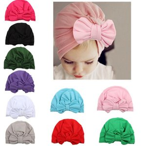 Ins Baby Bow Hat Bowknot Caps Europe Style Turban Knot Headwrap Hats Girls Infant India Hats Kids Autumn Winter Beanie 13203