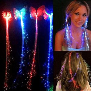 butterfly Colorful LED Ligth Up Hair Braid Glowing Flash Hairpin Luminous Light Up LED Party Hairpin Decoration Flash Braid Hair