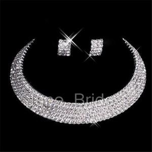 Diseñador clásico sexy hecho por los hombres pendientes de diamantes collar partido de baile de boda formal conjunto de accesorios de novia envío gratis en stock