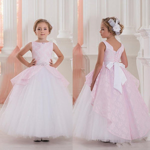 2019 New Cute Pink Ball Gown Flower Girls Dresses For Weddings Sleeveless Lace Girls Pageant Dress First Communion Dresses