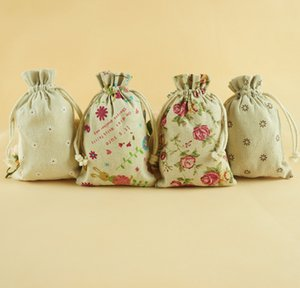 9*12cm Linen Drawstring bags cute design Printing Gift cotton package bags Gift Pouch sack Burlap cloth bags