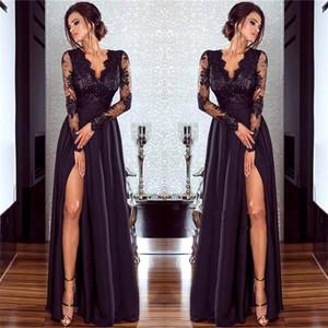 2020 Negro Sheer cuello en V vestidos de baile vestidos de noche de manga larga de encaje satinado superior de consola Party Line