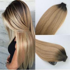 Лента в человеческих волос Ombre волос бразильский девственница волосы Balayage темно-коричневый до 27 блондинка расширений выделить уток кожи